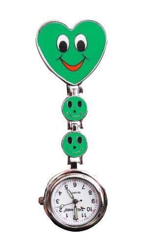 Diseño de cara sonriente de enfermería con para mando a distancia reloj de pulsera para mujer Tigaheart a su diseño de motas bridas de sujeción para y la batería de
