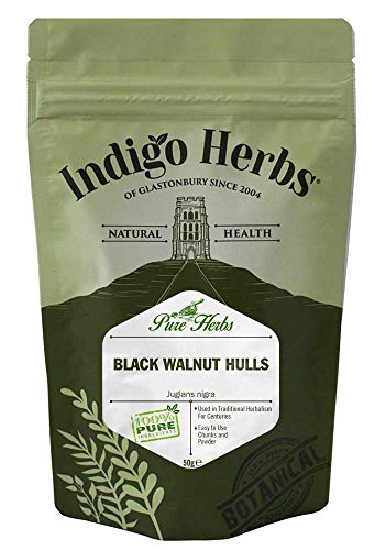 Indigo Herbs Zwarte Walnootdoppen Stukjes en Poeder 50g