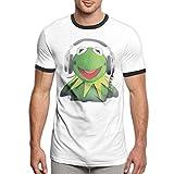 Vanesa Joyce Kermit The Frog Mens Short Sleeve tee Sports T Shirt Contrast(S,Black)