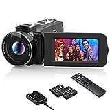 Videocamera 1080P WiFi, 30FPS 36MP Camcorder IR Visione Notturna 16X Zoom Digitale Schermo IPS da 3.0''Videocamera Vlog per YouTube con Telecomando, Caricabatteria, 2 Batteria