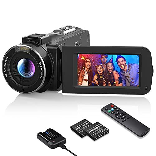 Videokamera 1080P Wlan, MELCAM Vlogging Kamera FHD 30FPS 36MP für YouTube, Streaming-Video Aufnehmen, Camcorder mit IR Nachtsicht, 3.0 \'\' IPS-Bildschirm, 16X Digital Zoom, Fernbedienung, Akkuladegerät