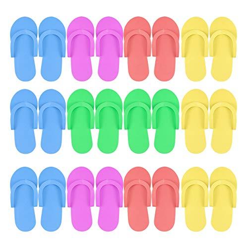 Hysagtek 12 Pairs Disposable Slippers Shower Sand Pedicure Beach Light Weight Foam Flip Flops, Sandals Random Color