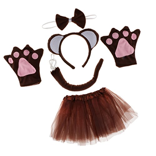 Sharplace Tierkostüm Affenkostüm Set - Affen Ohren Haarreif, Fliege, Handschuhe, Schwanz und Tutu Rock, Geschenk zum Geburtstag oder...