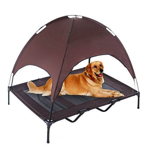 Dog Cot with Canopy Elevated Pet Bed with Canopy Raised Dog Pet Bed Tent Indoor Outdoor Bed Portable Camping Beach Travel Shade Camping Pet Basket Oxford Fabric Lightweight & Portable