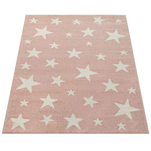 Amazon Brand - Umi Alfombra Juegos Estrellas Grande Pelo Corto Sala De Juegos Color Pastel Moderna, Color:Rosa, Tamaño:120x170 cm