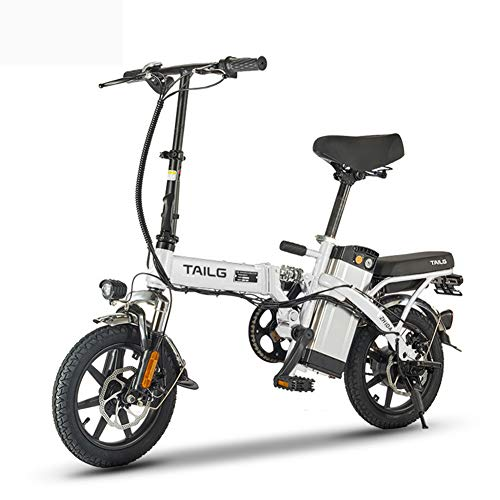 Pc-Hxl Bicicletas electricas Bicicleta eléctrica portátil de Aluminio Plegable Inteligente con 48V batería de Iones de Litio E-Bike 250W Motor Potente Velocidad máxima de Unos 25 km/h,Blanco