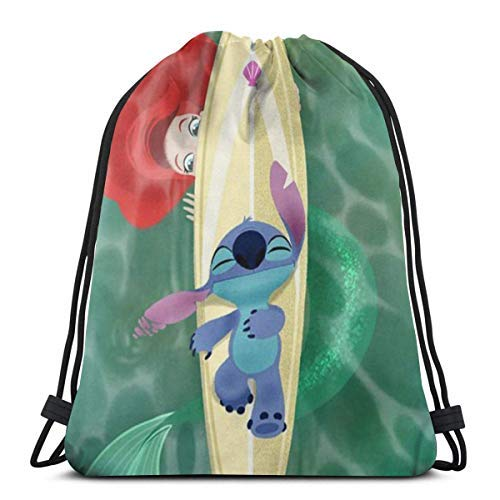 XCNGG Classic Drawstring Bag-Stitch and The Mermaid Princ Gym Backpack Shoulder Bags Sport Storage Bag for Man Women