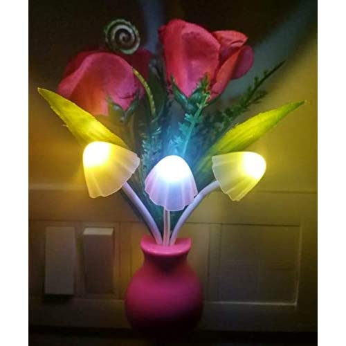 Pink Kites Plastic Mushroom LED Bedside Lamp with Green Pot and Pink Roses and Colour Changing Sensor