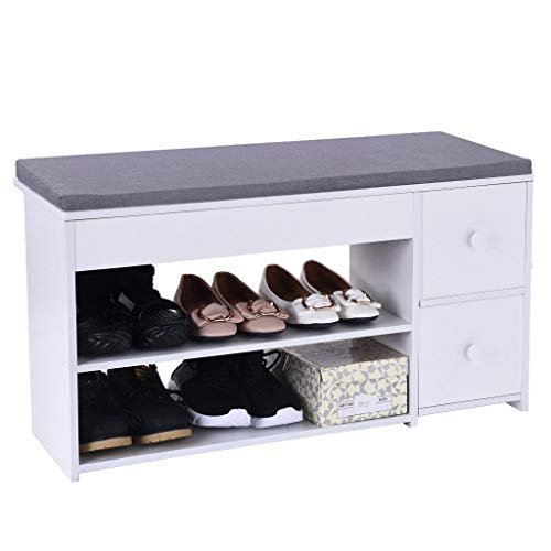 Entryway Shoe Storage Bench, Beyonds White Shoes Shelf Rack with 2 Drawers & Padded Seat Cushion, Hallway Bathroom Wooden Cabinet