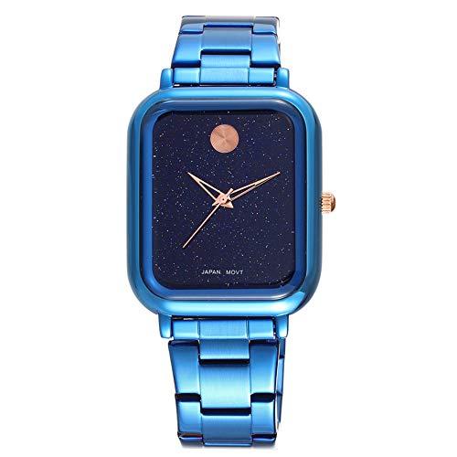 Unisex horloge, mannen en vrouwen studenten vierkant ster quartz horloge Roestvrij stalen band Zakelijk Casual Mode Waterdicht Creatieve persoonlijkheid Uitstekend,Blue