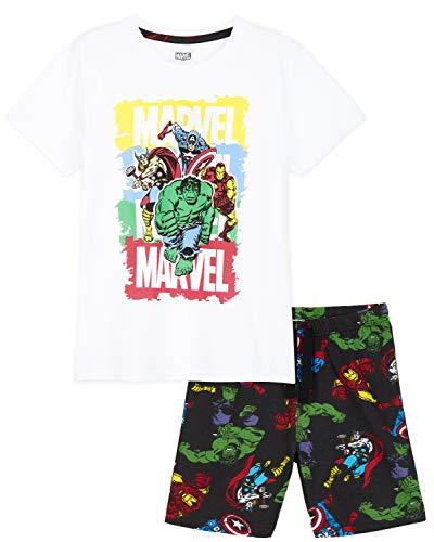 Marvel Pijama Niño Corto, Pijamas Niños de Los Superheroes Iron Man Capitan America Hulk y Thor, Regalos para Niños y Adolescentes Edad 4-14 Años (Blanco/Negro, 11-12 años)