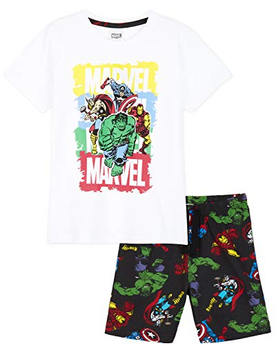 Marvel Pyjama Garçon, Ensembles de Pyjama Court des Super Héros Avengers avec T Shirt et Short, Vêtement Été pour Enfant et Ado de 4 à 14 Ans (Blanc/Noir, 7-8 ans)