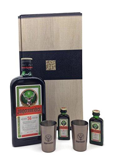 Jägermeister 0,7l + 2 Original Shot Gläser + 2 x 0,02l