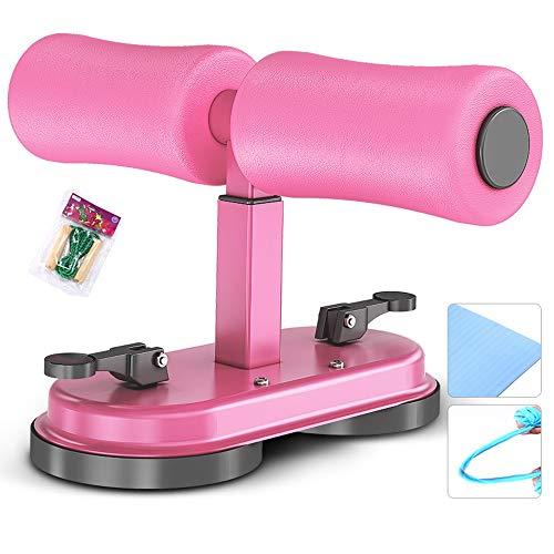 WOF Sit Up Bar - Doppelsauger Tragbare einstellbare Fitness-Bauchausrüstung Einstellung Einfache Sit-Ups-Hilfsmittel Übung Taille Abnehmen Werkzeug mit Zugseil und Yogamatte (Color : Pink+)