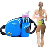 Aoweika Riñonera de senderismo con soporte para botella de agua bolsa correr cinturón cintura impermeable para pasear a perro bolsa de riñonera para deportes al aire libre entrenamiento fitness azul