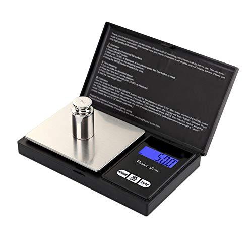 Docooler Mini-sieradenweegschaal, 500 g x 0,01 g, draagbaar, hoge precisie, led-zakweegschaal, Risch, goud, zilver, diamant, weegschaal, elektronisch