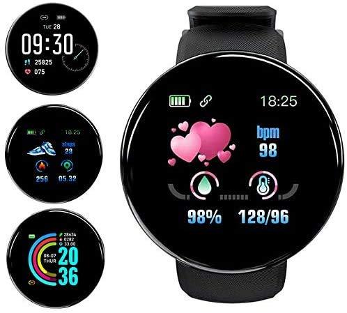 Smartwatch,Reloj Inteligente Impermeable IP65, Pulsera de Actividad Inteligente con Monitor de Sueño Contador de Caloría Pulsómetros Podómetro, para Hombres Mujeres Niños Compatible iPhone Android
