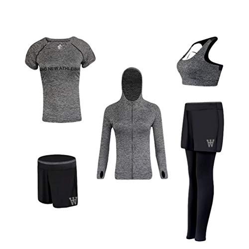 Xinwcang Damen Trainingsanzug 5 Stück Set Atmungsaktiv Stretch-Fit Yoga Trainingsanzug Set Schnell trocknend Gym Fitness Kleidung Set Grau XL