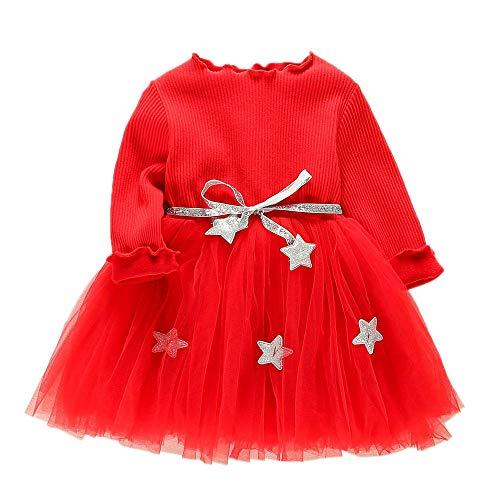 Hawkimin_Babybekleidung Hawkimin Kleinkind Baby Mädchen Langärmlig Fünfzackigen Stern Gaze Pettiskirt Prinzessin Kleid