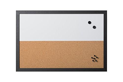 Bi-Office - Combo Pizarra Blanca y Tablón de Anuncios Elements, Magnético, Borrado en Seco/ Corcho, Marco MDF Negro, 60x40cm