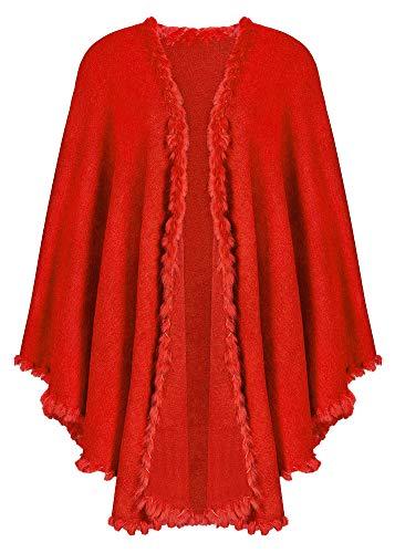 Das Kostümland Dirndltuch Strick Stola mit Fellbesatz - Rot