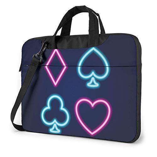 Hdadwy Herren Damen Laptop-Taschen Computer-Umhängetasche für die Schule Business TravellingPoker Blackjack-Kartenspiele Zeichen Neonlampe Symbol 14inch
