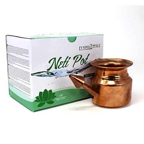 Neti Pot en Cobre para Limpiar y Desinfectar las fosas nasales - 250 ml - Práctica Ayurvédica - Jala Neti Hatha Yoga - para el drenaje de los senos frontales y para limpiar las vías respiratorias