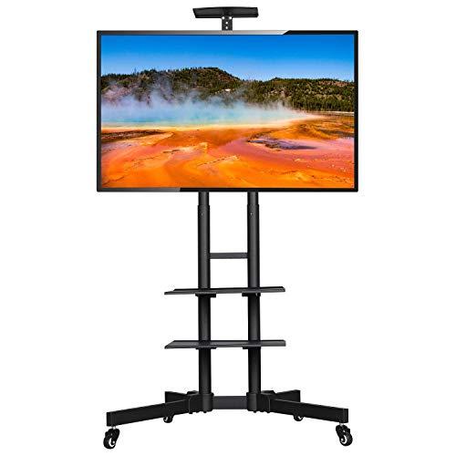 Yaheetech Staffa Carrello TV da 32 a 65 Pollici da Pavimento con Ruote Mobile Porta TV Schermo VESA da 100 x 100 mm a 600 x 400 mm Altezza Regolabile Gestione di Cavi Nero