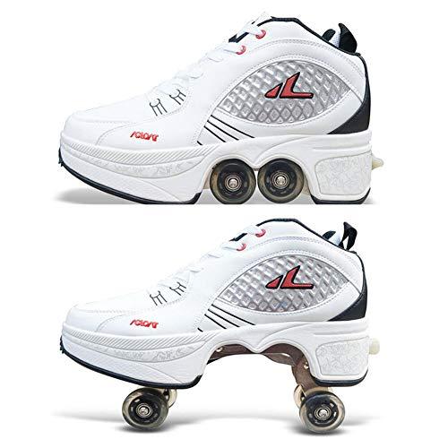 Pinkskattings@ Unisex-Kinder Fitnessschuhe Rollschuhe Sneaker Mit Rollen Automatische Wanderschuhe Unsichtbar Zum Skaten/Party/Disco/Tanz/Geburtstag/Weihnachten,Weiß,42