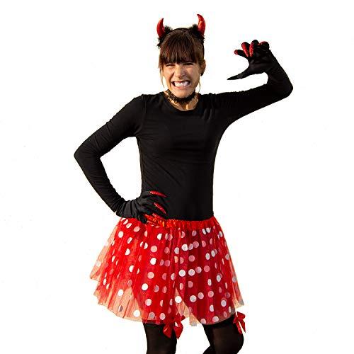 Oblique Unique® Tutú para mujer, falda roja con lunares blancos, accesorio para carnaval, fiesta temática