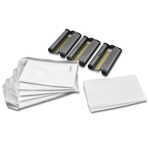 vhbw 3X Drucker Patrone Kartusche Tinte inkl. Papier Cyan, Magenta, Gelb für Fotodrucker Canon Selphy CP-100, CP-1000, CP-1200, CP-1300 wie 3115B001