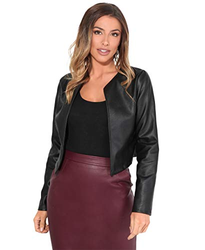 KRISP Women PU Leather Cropped Jacket Long Sleeve Bolero[4432-BLK-S] Black