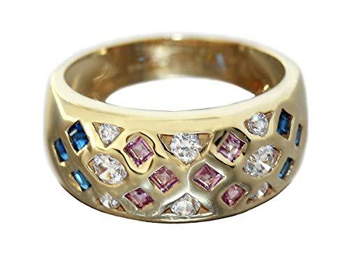 Ring Gold 750 Rubin saffier zirkonia elegante brede gouden ring 18 karaat dames Hobra-goud