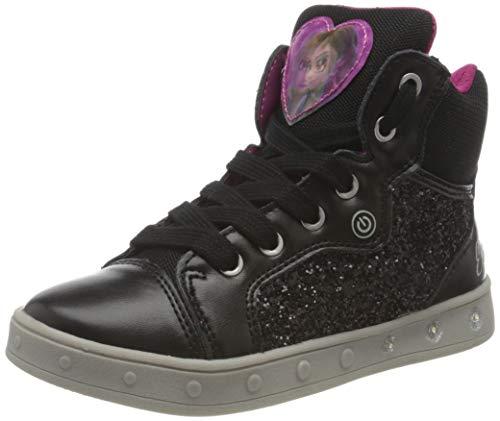 Geox J Skylin Girl A Sneaker, Schwarz (Black/Fuchsia), 24 EU (Schuhe)