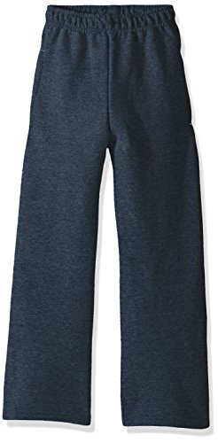 Fruit of the Loom Boys' Big Fleece Open Bottom Sweatpant, T Heather/Smoke Blue Stripe, X-Small