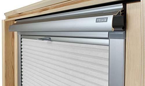 Home-Vision® Dachfenster Premium Doppelplissee Wabenplissee ohne Bohren Velux-kompatibel (Weiß-Grau für MK06 - Silber) Zweifarbig Blickdicht Sonnenschutz, Alle Montage-Teile inklusive