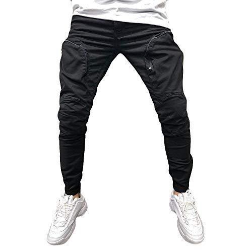 Xmiral Herrenhosen Neue Persönliche Reißverschluss-Tasche Elastisch Kleiner-Fuß Sports Einfarbig Hose(M,A Schwarz)