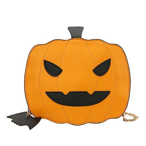 DASHUAI Bolso Bandolera De Cuero PU con Forma De Lámpara De Calabaza para Mujer, Bolso De Mano con Cadena De Asas, Bolso De Caramelo De Halloween