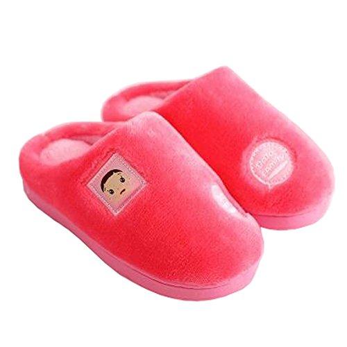 Famille d'hiver et chaleureux Chaussures Indoor Maison Enfant Slipper, Rouge