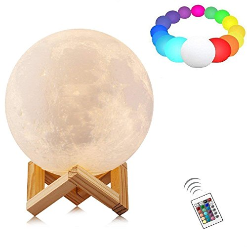 7.9 inch 3D Moon Lamp, Atglus 16 Colours RGB Moonlight USB LED Night Light Magical Lunar Table Lamp with Remote Control & Wooden Holder & Gift Box for Home Decorative Gift
