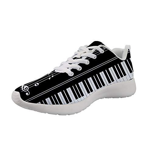 POLERO Fashion Piano Keyboard Trainer Schuhe Damen Schnür Flache Mesh Sportschuhe Musiknoten Sneaker Schwarz, Größe 40