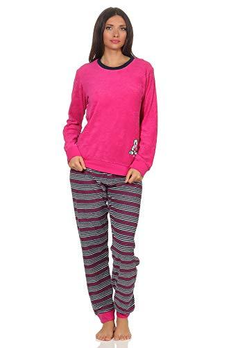 Damen Frottee Pyjama Schlafanzug Langarm mit Bündchen und süsser Bär-Applikation 20113777, Farbe:pink, Größe2:40/42