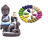 NYRWANA DELIVERING SMILES IN INIDA Clay Buddha Smoke Fountain with 30 Backflow Incense