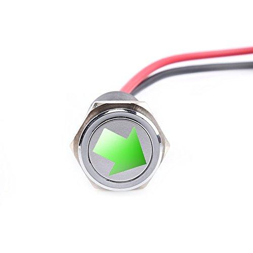YWBL-WH LED Indicator Light 14mm 12V LED Dash Panel Warning Fog Turn Light Indicator Bike Car Boat Lamp Green(12V-14mm)