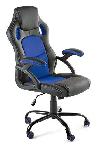 Home Heavenly®- Silla X-Gamer, de Oficina, sillon Gaming ergonomico, diseno de Oficina y despacho, Escritorio, con Ruedas (Azul)