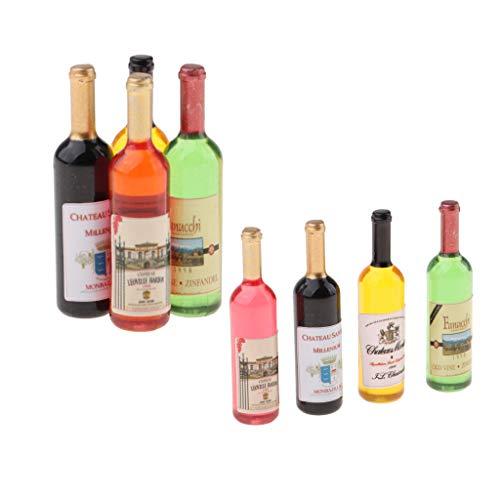 perfeclan 8 Piezas De Casa De Muñecas En Miniatura Botellas De Vino Fiesta Pub Bar Alimentos Decoración Suministros
