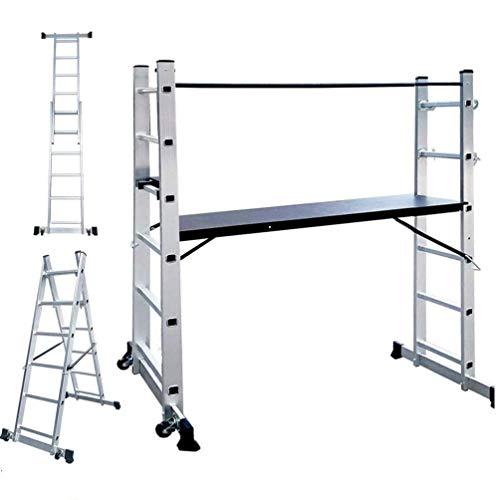 UISEBRT Alu Gerüst Arbeitsgerüst Baugerüst - 3 in 1 - Multigerüst Leiter Klappleiter Belastbarkeit bis 150 kg