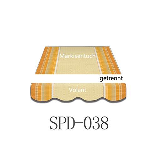 Markisen-Stoffe Zeltstoffe Sonnenschutz Markisentuch Markisenbespannung Ersatzstoffe Diverse Farben inkl. Volant fertig genäht (4x3m, SPD038)