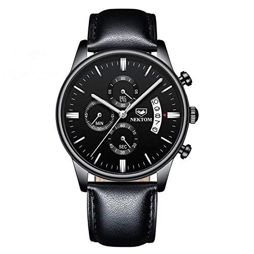 Reloj automático para Hombre Relojes de Cuarzo Informales de Cuero -C
