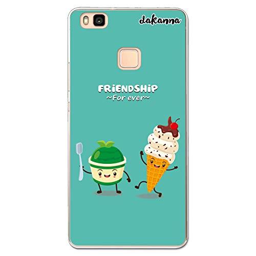 dakanna Funda Compatible con [Huawei P9 Lite] de Silicona Flexible, Dibujo Diseño [Helado Amigos Friendship Forever], Color [Borde Transparente] Carcasa Case Cover de Gel TPU para Smartphone